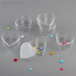Баночка для хранения мелочей сердце 7,5*7*3см прозрачный 3089988
