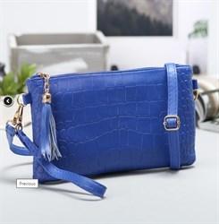 Клатч женский ''Кэтрин'', 1 отдел с перегородкой, 1 наружный карман, с ручкой, длинный ремень, синий