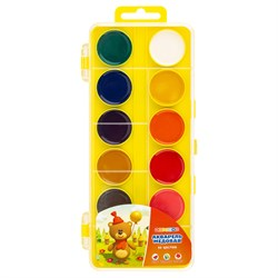 Краски акв.   желтая с петлей,12 цветов