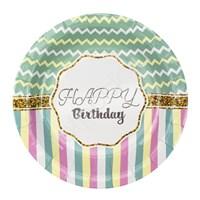 Тарелки бумажные ламинированные Happy Birthday Тиффани 6шт