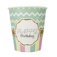 Стаканы бумажные Happy Birthday Тиффани 6шт