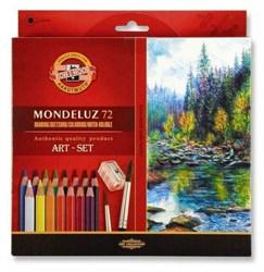 Набор высококачественных акварельных цветных карандашей  ''Mondeluz'', 72  цвета, 2 круглые кисти №3 и №8, пластиковая точилка, в картонной  коробке